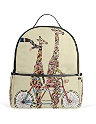 JSTEL Fashion Giraffe School Backpacks for Boys Girls Bookbag