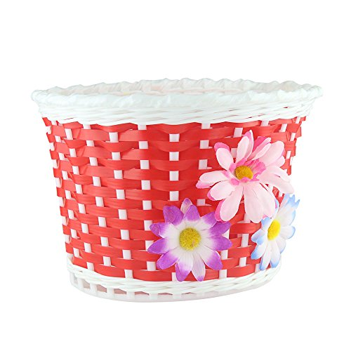 Farway 1PC Kid's Bike Bicycle Basket Front Decoration with 3 Pretty Flowers (Red)