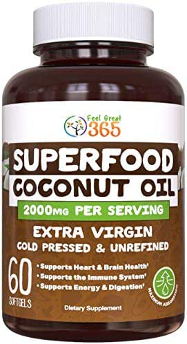 Organic Coconut Oil Superfood Capsules by Feel Great 365| Includes MCT's to Support Metabolism, Healthy Gut, Immunity, Mood, Energy*, and Weight Loss* | Fights Tooth Decay and Improves Hair and Skin*