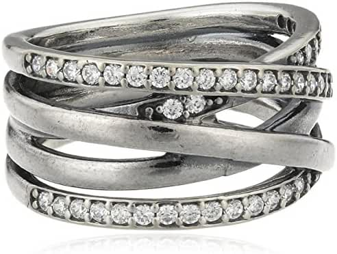 Pandora Entwined Ring in 925 Sterling Silver w/Clear Cubic Zirconia, 190919CZ-56