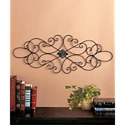 Black Scrolled Metal Wall Art Medallion Plaque - Oblong Living Room Home Decoration 32 Wide x 12 Tall by Super Z Outlet