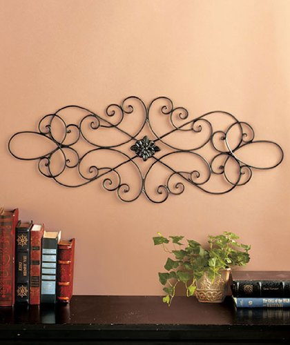 Black Scrolled Metal Wall Art Medallion Plaque - Oblong Living Room Home Decoration 32'' Wide x 12'' Tall by Super Z Outlet by clickmehome