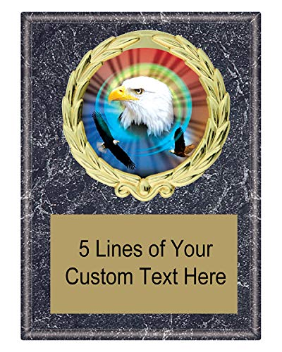 Express Medals 5x7 Black Marble Color American Eagle Plaque Award Trophy with Engraved Plate MY4