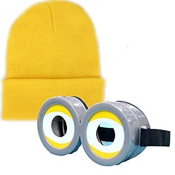 ミニオンズ 風 コスプレ 目玉 ゴーグル + イエロー ニットキャップ 子供 大人 ニット帽 黄色 怪盗グルー