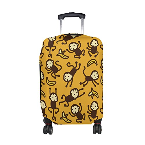 Cute Cartoon Monkey Pattern Print Travel Luggage Protector Baggage Suitcase Cover Fits 29-32 Inch (Sock Monkey Onesie Adults)