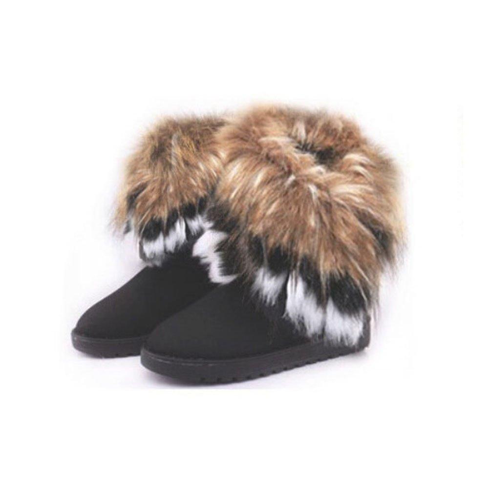 Bumud Women Winter Warm High Long Snow Ankle Boots Faux Fox Rabbit Fur Tassel Shoes (8 B(M) US, Black)