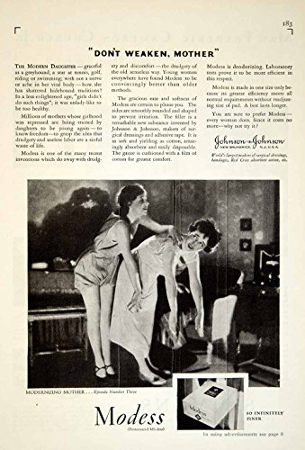 1929 Ad Johnson & Johnson Modess Pad Tampon Feminine Hygiene Health Beauty YGH1 - Original Print Ad from PeriodPaper LLC-Collectible Original Print Archive