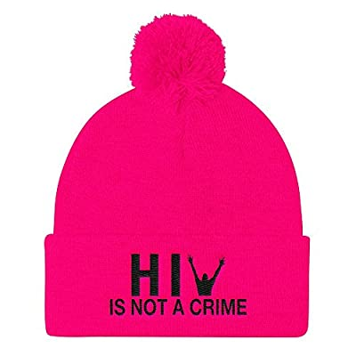 HIV is Not a Crime Pom Pom Hat Knit Beanie Cap - Embroidered One Size Pink