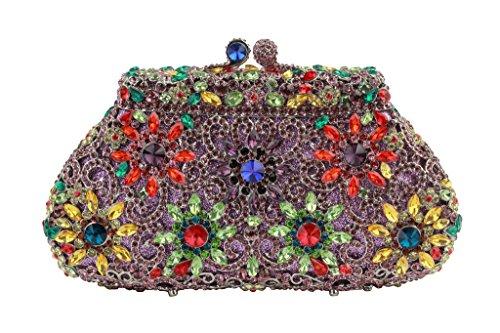 Piedras Anillo De Bolsos Con Los Verde Yilongsheng Square Glitter Señoras Forma Embrague 6qg5vwRa