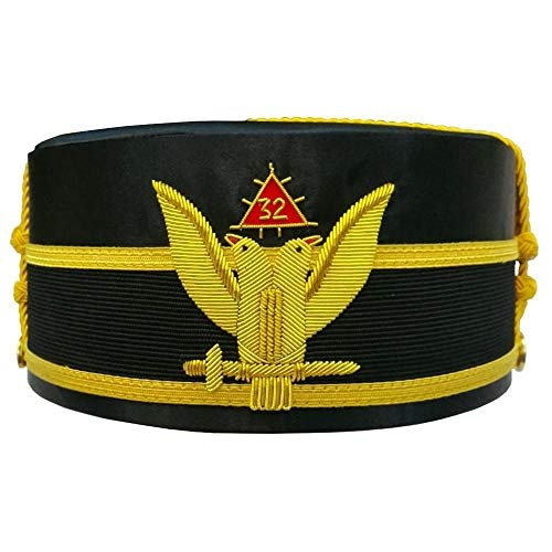 - Bricks Masons 32nd Degree Wings UP Scottish Rite Double-Eagle Cap Bullion Hand Embroidery-58cm
