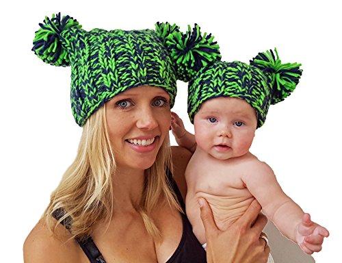 Huggalugs Baby Girls & Womens Navy & Green Pom Pom Hawks Beanie Hat Small - Hat Jester Ski
