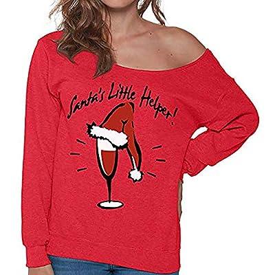 kaifongfu Women Christmas Tops Long Sleeve Sweatshirt Blouse Shirt