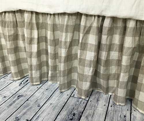 Buffalo check bed skirt, Country bed skirts, Plaid bed skirt, Drop from 13-24