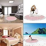 igoga sports Thick Round Beach Towel Blanket Cherry Blossom Circular Blanket Ultra Soft Abstract Ornamental Design with Curls Swirls Flowers Vintage Blush Dark Coral White