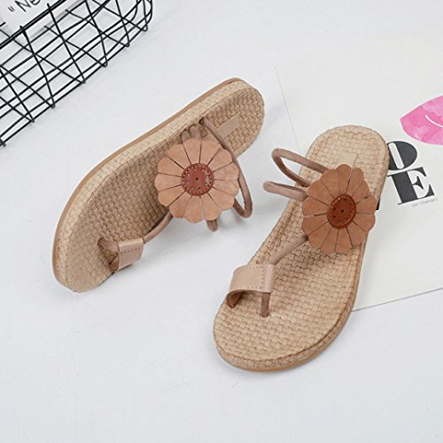 Shoes Lady Bandages Sandals Flat Leisure Women Flip Bohemia Flower Shoes Flops hunpta Khaki A0Otqw