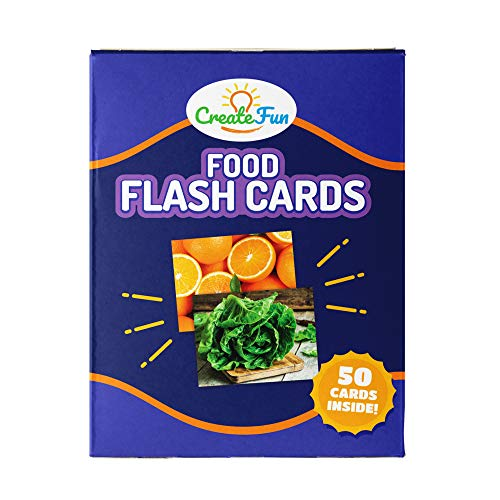 CreateFun Food Flash Cards for Kindergarten, Preschool, Toddlers and Babies | 50 Educational First Words Picture Cards | 4 Learning Games | for Parents, Teachers, Speech Therapy Materials and ESL