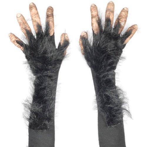 [Adult Ape Chimp Bigfoot Full Action Latex Gloves] (Chimp Hands Costume)
