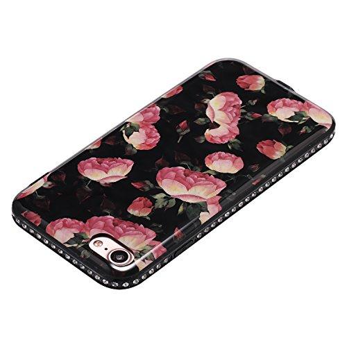Funda Case iPhone 7 silicona,Ukayfe Ultra Delgado Flexible Suave TPU Gel Trasera Bumper Protector Carcasa Para iPhone 7,Carcasa de 360 Protección con Pintura de Colores para teléfono portátil funda ti Brotes florales rosados