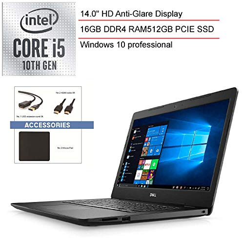 2020 Dell Inspiron 14″ Laptop Computer, 10th Gen Intel Quad-Core i5 1035G4 Up to 3.7GHz (Beat i7-7500u), 16GB DDR4 RAM, 512GB PCIe SSD, 802.11ac WiFi, Windows 10 Professional, SPMOR Accessories