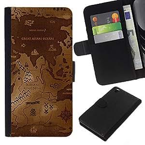 NEECELL GIFT forCITY // Billetera de cuero Caso Cubierta de protección Carcasa / Leather Wallet Case for HTC DESIRE 816 // Mapa del Mundo Antiguo