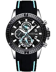 Montre Tendance pour Homme Noire avec Bracelet en Caoutchouc Bleu, 3 Cadrans étanches 30 m
