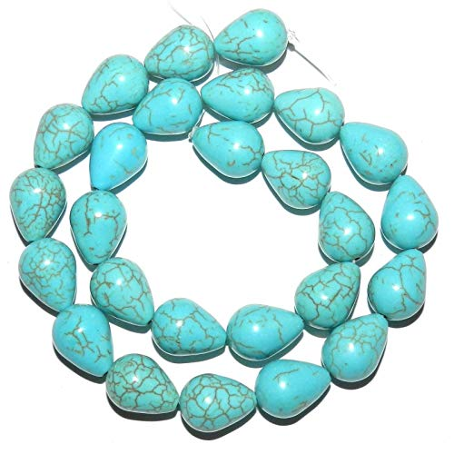 Bead Jewelry Making Blue-Green Turquoise 16mm Teardrop Pear Magnesite Gemstone Beads 15