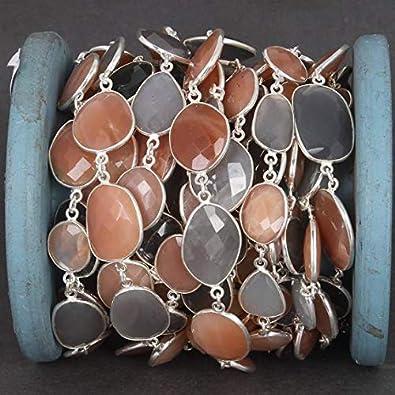 LKBEADS Cadena de conector de múltiples formas de piedra lunar de 1 pie – Bisel de plata de ley 925 con conector continuo, cadena de cuentas de 23 x 15 mm, código HIGH-5451