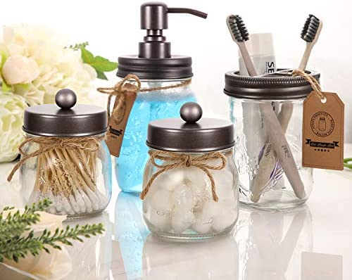 AOZITA Mason Jar Bathroom Accessories Set 4 Pcs – Mason Jar Soap Dispenser & 2 Apothecary Jars & Toothbrush Holder – Rustic Farmhouse Decor, Bathroom Home Decor, Countertop Vanity Organize – Bronze 51e3yLOlgHL