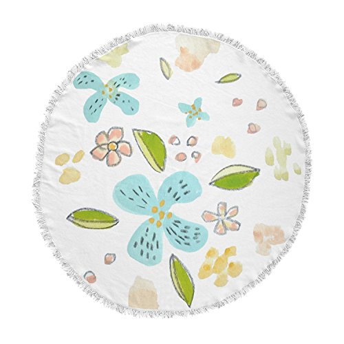 KESS InHouse Jennifer Rizzo Happy Flower Dance Blue Green Floral Round Beach Towel Blanket by Kess InHouse