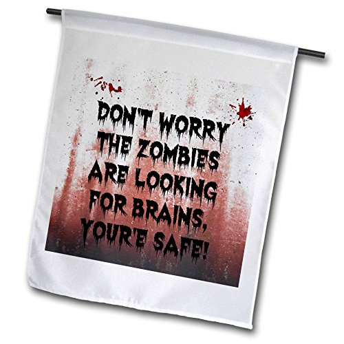 3dRose Xander funny quotes - dont worry the zombies are looking for brains youre safe - 12 x 18 inch Garden Flag (Halloween Zombie Quotes)