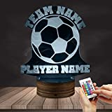 Football 3D Night Light Football Team Name Custom LED Lights Personalised Creavtive Soccer Player Name Table Lamp Custom For Sport Hobby Gift