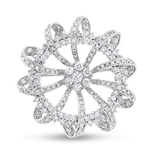 (3.00 Ct. Natural Diamond Wavy Brooch Pin in Solid 18k White Gold)