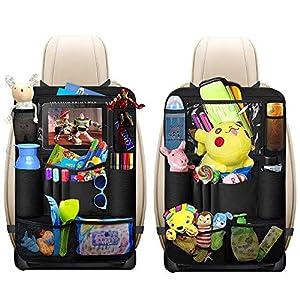 Organisateurs de Voiture, omitium 2 Pcs Protège Siège Voiture Imperméable Kick Mats Multi Pocket Protection Arrière de Siège Auto avec Support iPad rangement voiture pour Enfants 4