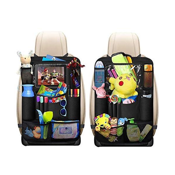 Organisateurs de Voiture, omitium 2 Pcs Protège Siège Voiture Imperméable Kick Mats Multi Pocket Protection Arrière de Siège Auto avec Support iPad rangement voiture pour Enfants 1