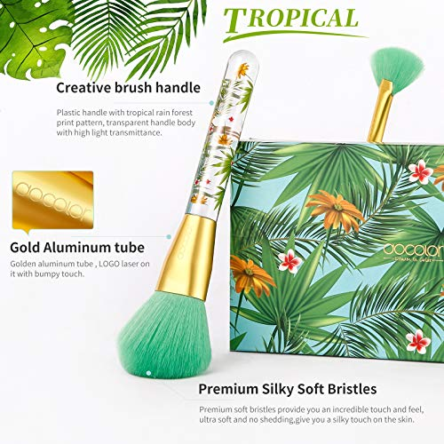Tropical Makeup Brushes Docolor 14 Pieces Professional Makeup Brushes Set Premium Synthetic Kabuki Foundation Blending Contour Face Powder Mineral Eyeshadow Make Up Brushes Set