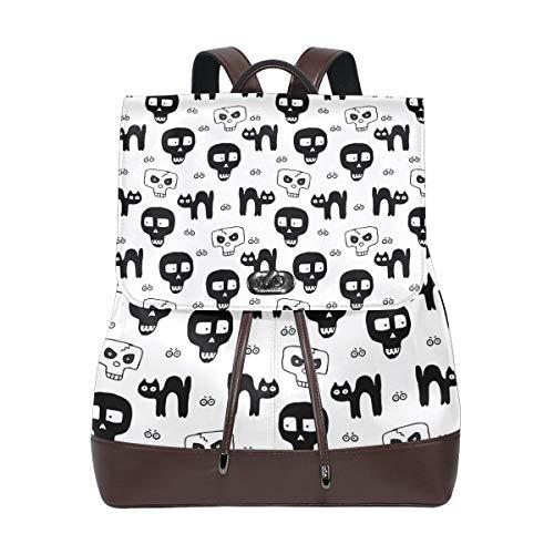 Leather Skulls Hand Drawn Pattern For Halloween Backpack Daypack Bag Women ()
