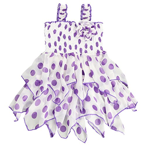 LELEFORKIDS - Toddlers and Girls Dancing Dots Handkerchief Chiffon Dress in White and Purple 2T