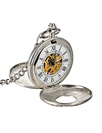 Carrie Hughes Steampunk Mechanical Skeleton Hand Wind Pocket Watch with Chain Full Hunter silver CHPW15