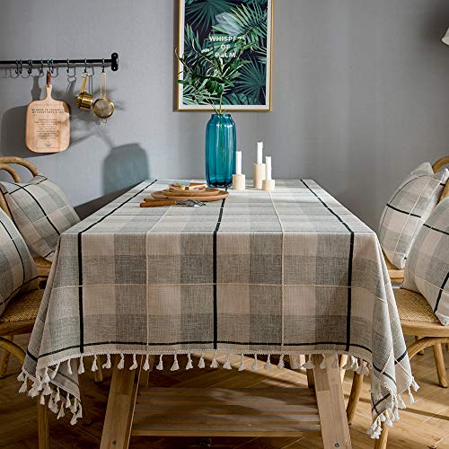 LINENLUX Plaid Cotton Linen Tablecloth/Table Cover with Tassel Gray Plaid Square/Round 55 X 55 ()