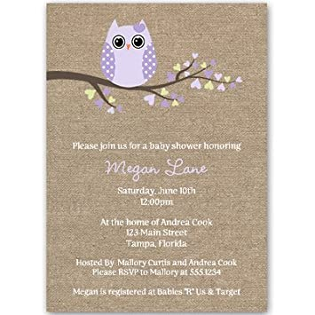 Amazoncom Owl Baby Shower Invitations Burlap Rustic Cottage