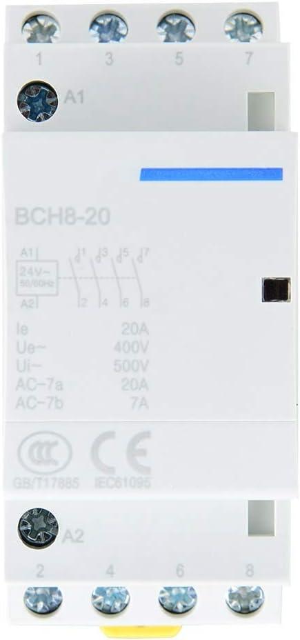 4P 4NO 20A 24V 220V / 230V 50 / 60Hz Contactor de CA Doméstico Material de Aslamiento de Seguridad de Montaje en Riel DIN(24V)