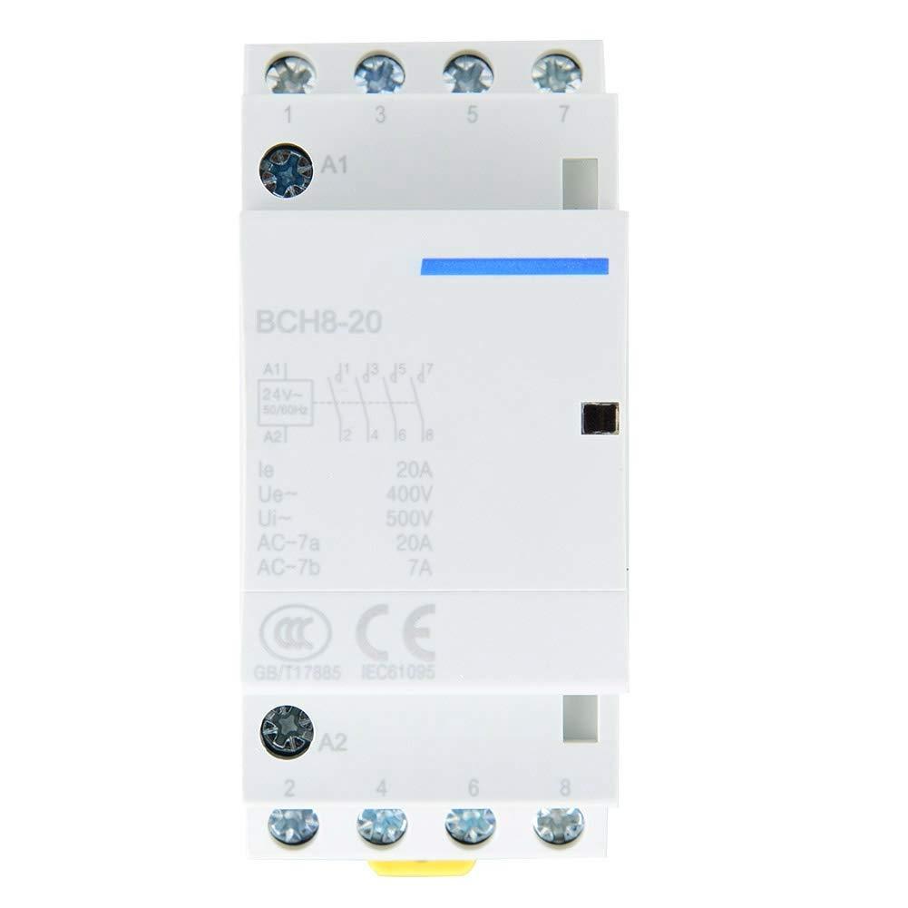 20A 4 Pole DIN Rail Mount AC Contactor Household AC Contactor 4NO 50//60HZ 220V//230V 220V//230V