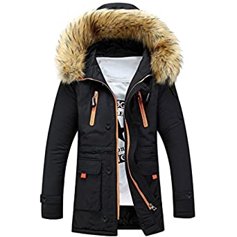 Sun Lorence Men Lengthened Fur Hooded Down Coats Heavy Parka Winter Jackets at Amazon Men's