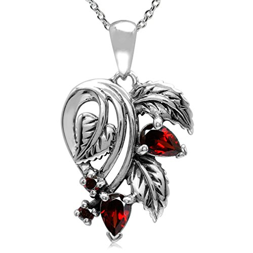 1.16ct. Natural Garnet 925 Sterling Silver Leaf Vintage Style Pendant w/ 18 Inch Chain Necklace