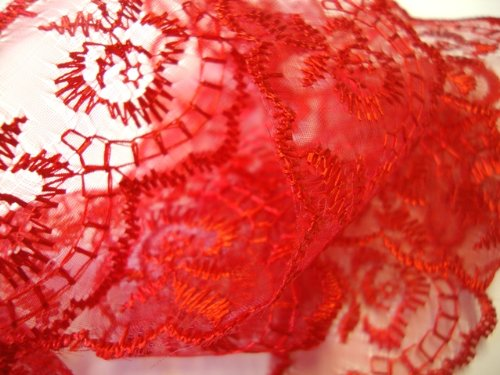 45mm Coloured Scalloped Flat Lace Trimming/Edging - by Cranberry Card Company (Red)