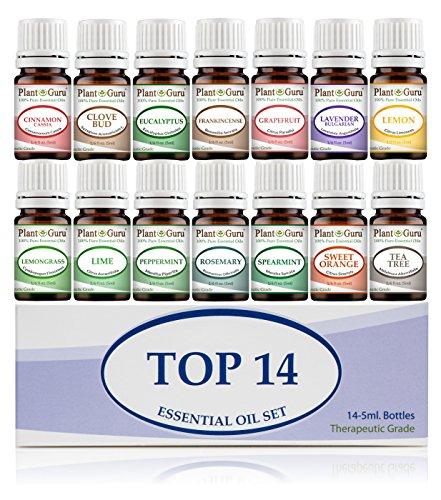 Essential Oil Set 14 - 5 ml Therapeutic Grade 100% Pure Frankincense, Lavender, Peppermint, Rosemary, Orange, Tea Tree, Eucalyptus, Grapefruit, Lemon, Lime, Clove, Spearmint, Lemongrass, Cinnamon