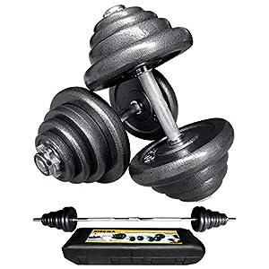 Well-Being-Matters 51e4%2BNnxH5L._SS300_ Bibowa Adjustable Dumbbells Set,110lb Cast Iron Dumbbell Barbell 2 in 1,Barbell Weight Set