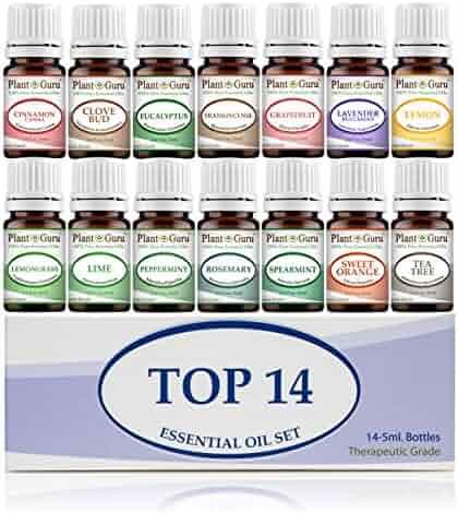 Essential Oil Set 14 - 5 ml Therapeutic Grade 100% Pure Frankincense, Lavender, Peppermint, Rosemary, Orange, Tea Tree, Eucalyptus, Grapefruit, Lemon, Lime, Clove, Spearmint, Lemongrass, Cinnamon