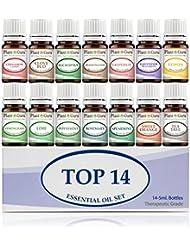 Essential Oil Set 14-5 ml Therapeutic Grade 100% Pure Frankincense, Lavender, Peppermint, Rosemary, Orange, Tea Tree, Eucalyptus, Grapefruit, Lemon, Lime, Clove, Spearmint, Lemongrass, Cinnamon