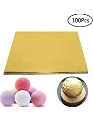 BAKHUK 100pcs 6 Food-Grade Gold Aluminium Foil Paper Wrapping Paper for Packaging Chocolate Candy Bath Bombs Gift Package